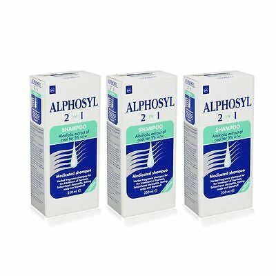 alphosyl 2 in 1 shampoo 250ml x 3, therefore 750ml new with boxes low usebydate