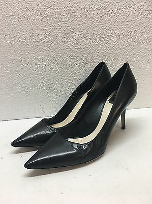 Christian Dior Black Leather Pointed Toe Pumps Women's Size 38 M