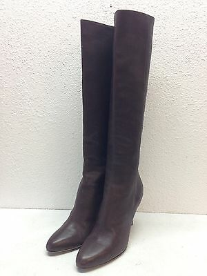 #4 Jimmy Choo Grand Brown Leather Zip Almond Toe Tall Boots Women's Size 36.5 M
