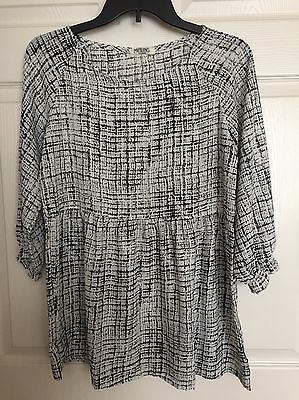 Women's Maternity Career Blouse Top - Size Small - Black And White