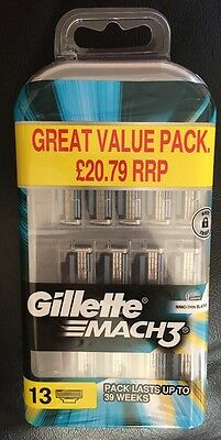 Brand New - Gillette Mach3 - 13 Replacement Cartridges - Free Shipping