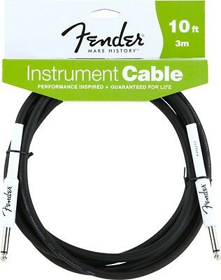 Fender 10' Foot ft Guitar Cable BLACK Stratocaster Straight Straight NEW