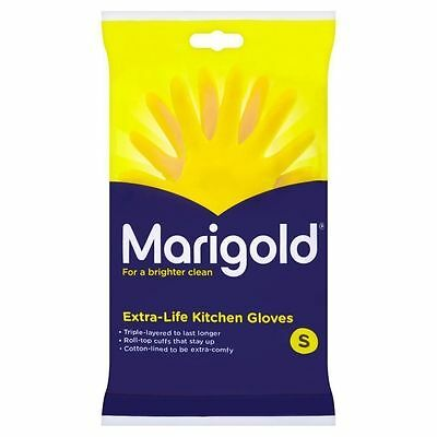 2 x Marigold Extra Life Kitchen Washing Up Rubber Gloves Last Longer Small New