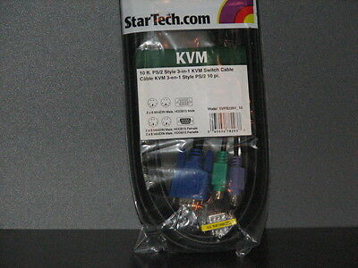 3 New Startech KVM Cables 10ft 3-in-1 Universal PS/2 KVM Cable SVPS23N1_10