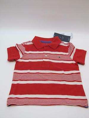 NWT Toddler Boys TOMMY HILFIGER S/S Polo Shirt Red & White Stripes 2T