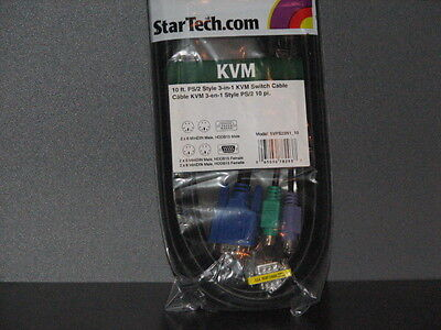 2 New Startech KVM Cables 10ft 3-in-1 Universal PS/2 KVM Cable SVPS23N1_10