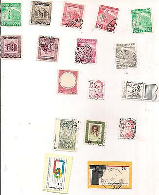 17 VENEZUELA stamps with 2 on paper.