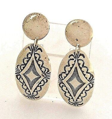 Vintage Large Native American Sterling Silver Hand Made Concho Earrings