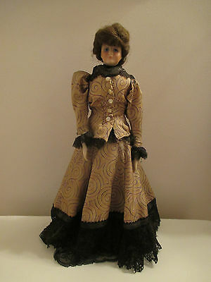 "1975 Gibson Girl Reproduction Bisque and Cloth 14 1/2"" Doll"