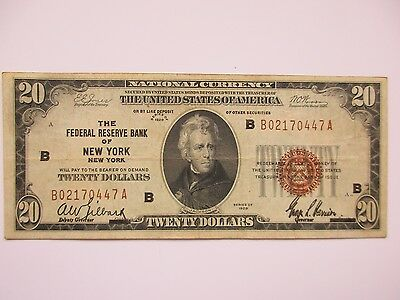 National Currency $20, 1929, New York FR, Very Fine +