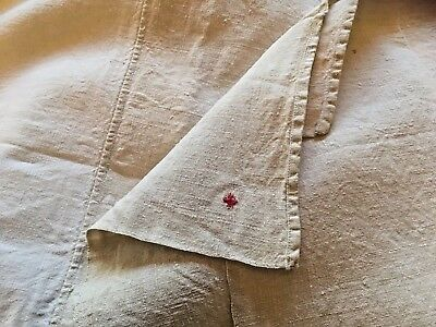 Antique 2-Toned French Linen Bed Sheet Upholstery Fabric
