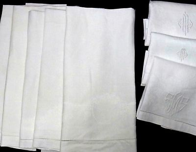 Linen Damask Hand Towels -lot of 8 - 3 w/ Monograms - FINE VINTAGE Clean Group!