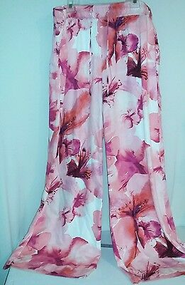 Ana Womens Wide Leg Palazzo Pants Pull String Floral Plus Size 3X Nwt