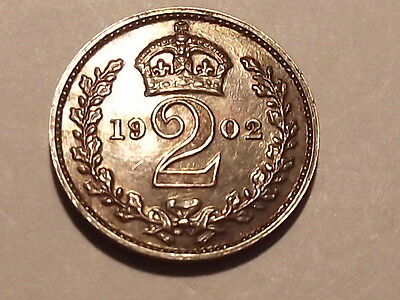 1902 Proof Edward Vii Silver Maundy Twopence Unc With Iridescent Toning .