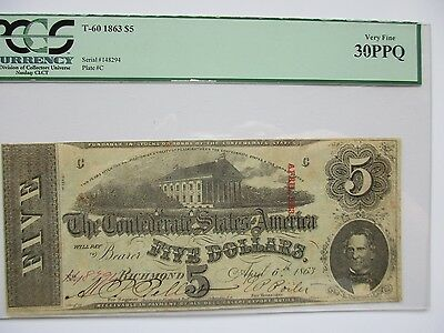 Confederate Currency T-60, $5, 1863, PCGS Very Fine 30 PPQ