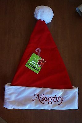 NEW Naughty / Nice Reversible Santa Hat Adult One Size Red with White Trim