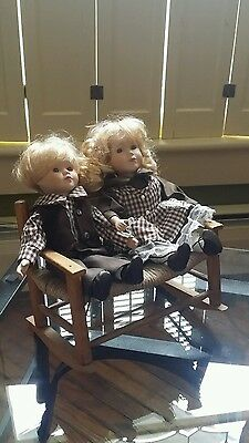 """Free S&H !  Pair Porcelain Dolls Boy Girl Matching Outfits 10"""" Blond Hair"""