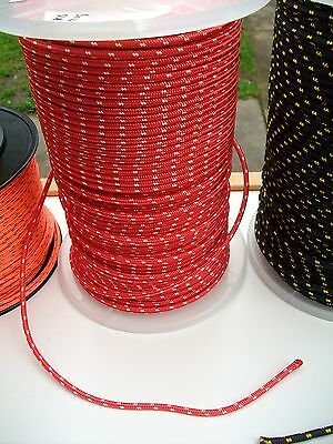 15m X 5mm RED/W DOUBLE BRAID WITH DYNEEMA® CORE, YACHT & MARINE ROPE tens:1300kg