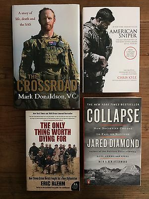 4x books- The Crossroad - Mark Donaldson, American Sniper, Collapse, Afghanistan