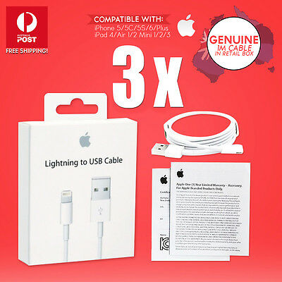 3 X Apple ORIGINAL GENUINE Lightning Data Cable Charger for iPhone 5 S C 6 iPad