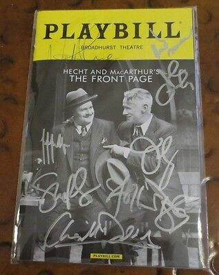 The Front Page Broadway Play Playbill current cast signed autographed