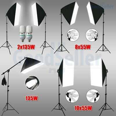 PRO Photography Studio Softbox Lighting Video Soft Box Light Boom Arm Stand Kit