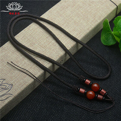 Natural Wood Red agate JADE beads Brown Circle string cord rope for pendant A233