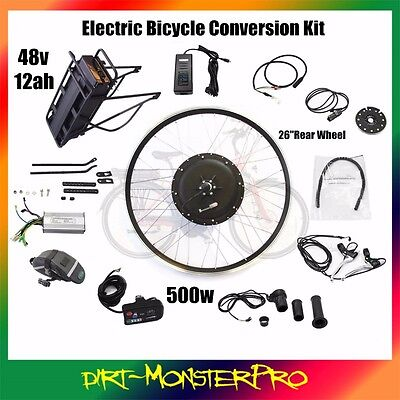 Powerful 500 Watts Hub Motor Electric Bicycle Conversion Kit 48V 12AH Battery