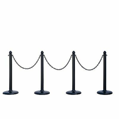 New PLASTIC STANCHION IN BLACK + 32' CHAIN, Crowd Control Center, 4 PCS C-HOOK