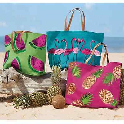 SALE  Mud Pie Tropical Dazzle Sequin Jute Tote /Beach Bag Flamingo, Pineapple
