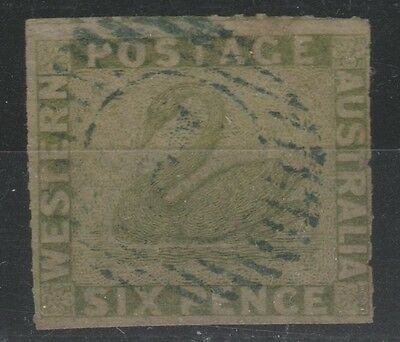 Western Australia 6d sage green, rouletted. Lovely used example (MY20)