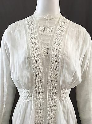 Antique Edwardian Cotton Lawn Top with Lace/Pulled Work & Pintucked Sleeves
