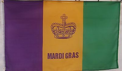 MARDI GRAS FLAG - 3' X 5'  - KINGS CROWN BANNER - new ready to fly