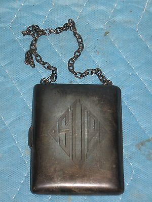 Antique Sterling Silver Purse, Compact, Card Case W/ Chain 140Grams