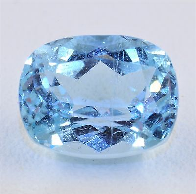 4CT Natural Santa Maria Color Blue Green Aquamarine - 11x8 mm Cushion Cut Gem!