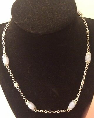 """Judith Ripka 18"""" Blue Lace Agate Necklace, Retired, HTF"""