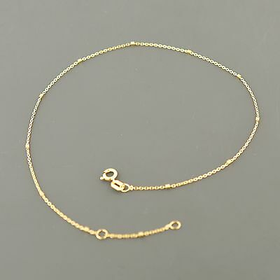 14K YELLOW, WHITE OR ROSE GOLD .85MM ROUND CABLE wBOX STATIONS ADJUSTABLE ANKLET