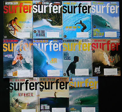 Surfer Magazine 2009 Used Lot Of 11 Issues Vol.50 Surfing  Surf