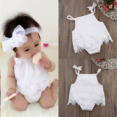 Newborn Baby Girl Infant Romper Jumpsuit Bodysuit Tutu Lace Dress Clothes Outfit