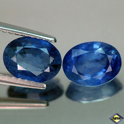3.50Ct Lovely Pair Oval Blue Thailand Heated Only Sapphire