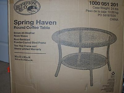 Hampton Bay Spring Haven Round Coffee Table Patio Furniture. Fast Shipping!