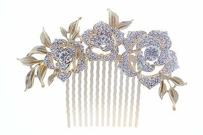 KimmyKu Bridal Hair Accessories Vintage Rose Gold Wedding Party Hair Comb Vine