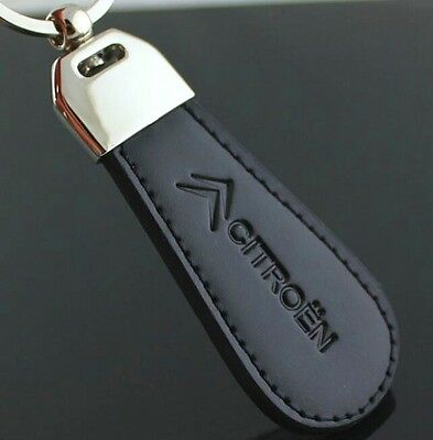 LG104 Black PU Leather Drop Keyring For Citroen Car Logo Key Ring Keychain Gift