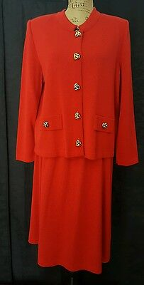 Vintage MITA 16P Red Classic Knit Sweater Dress Suit