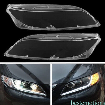 Latest! Pair Headlight Lens Cover Front L&R Side Replacement For Mazda 6 03-2008