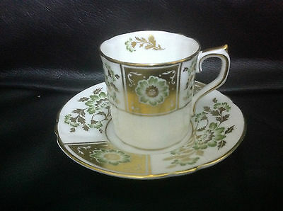 Royal Crown Derby Green Panel Coffee Can And Saucer