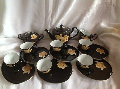 Noritake Art Deco Black Yellow Floral Snack/tennis Tea Set