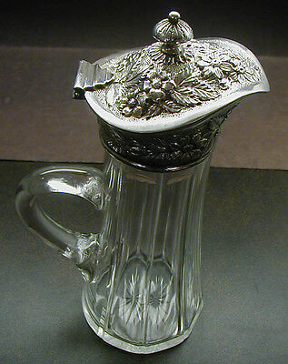 Antique Cut Glass Syrup Pitcher Sterling Repousse Top Jacobi and Jenkins No Res