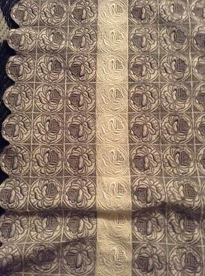 Antique Heavy Rose Embroidered Hand Stitched 60x70 Tablecloth Grey & White