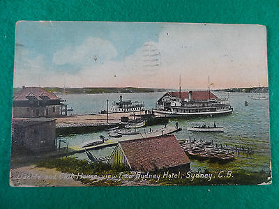 Early 1900's N.s.w Postcard Yachts And Club House From Sydney Hotel, Sydney C.b